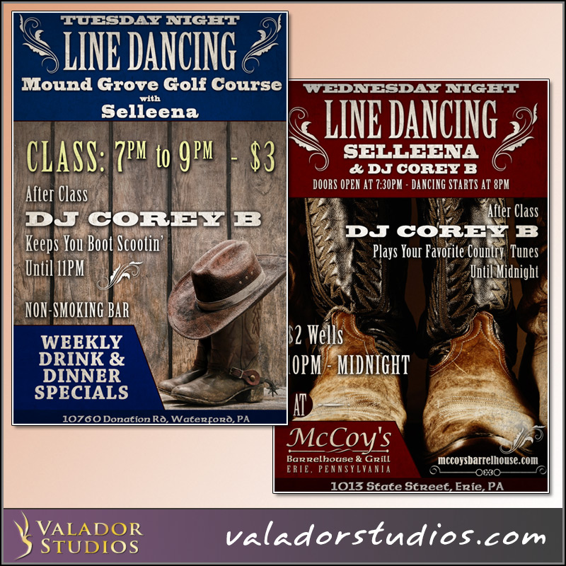 DJ Corey B and Selleena Line Dancing Flyers
